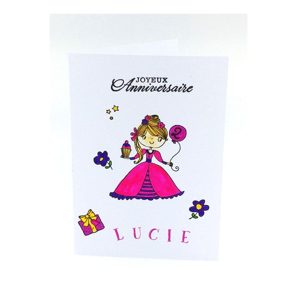 Carte Anniversaire 1 An 2ans 3 4 5 6 7 8 9 10 Ans Fille Carte Anniversaire Pour Fille Jolie Carte Prenom Un Grand Marche
