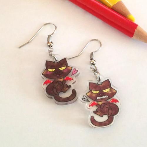 Boucles d'oreilles chat hellcat