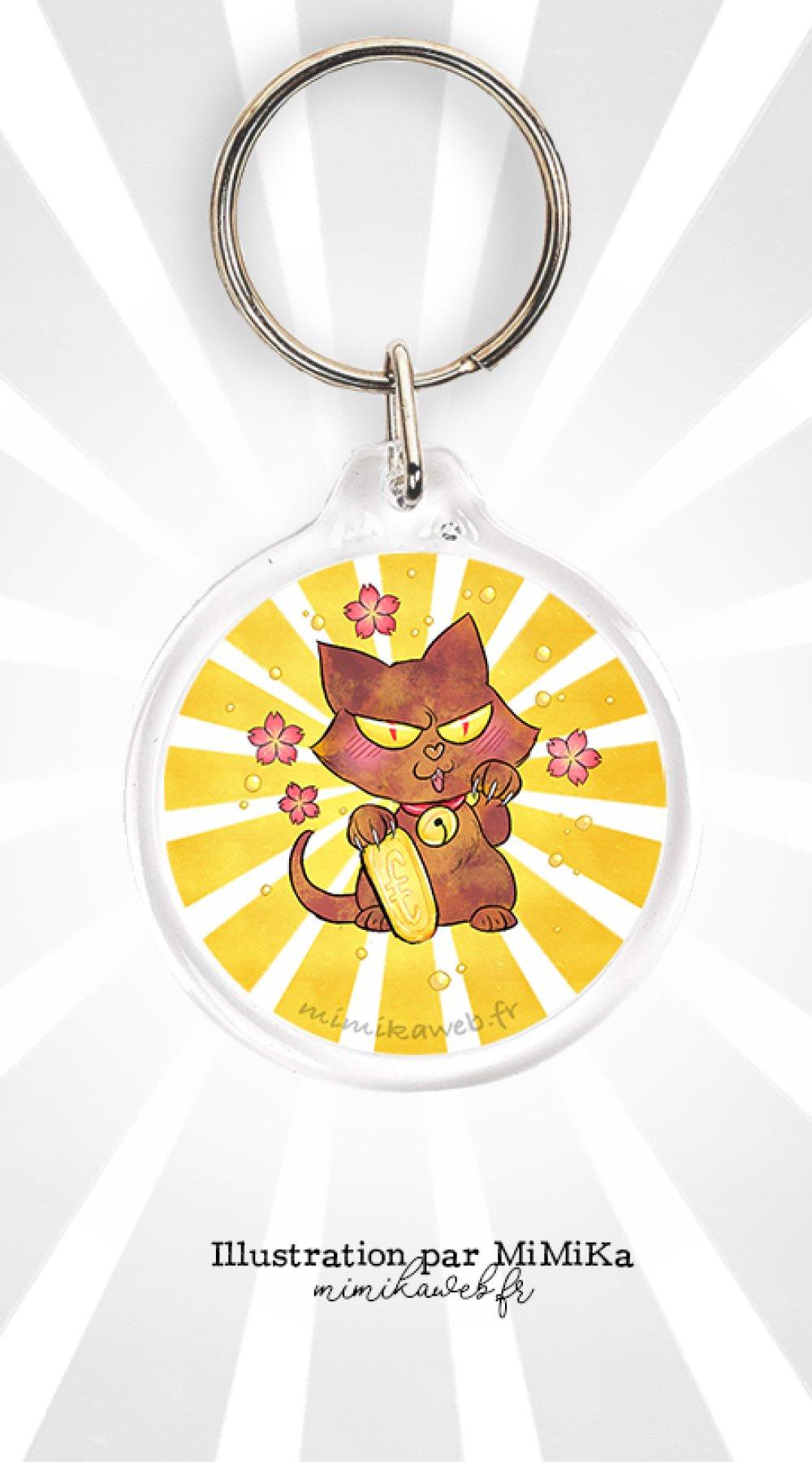 Porte clé dessin mignon Maneki Hellcat