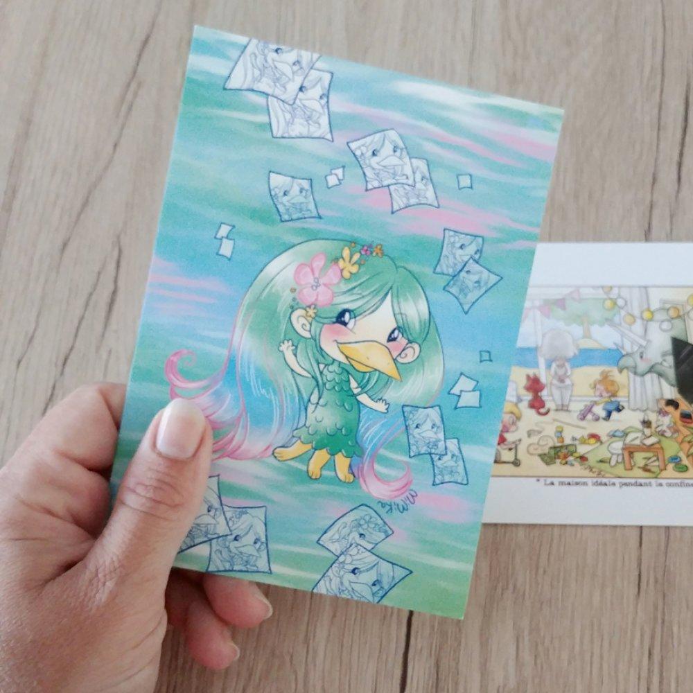 Carte dessin Amabie, petit démon japonais porte-bonheur