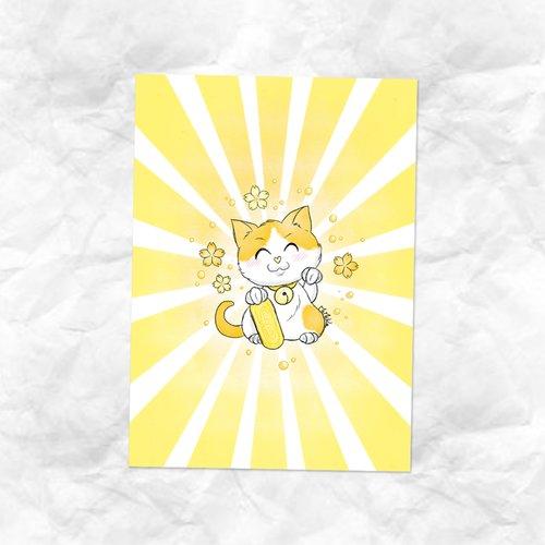 Carte dessin maneki neko chat calico