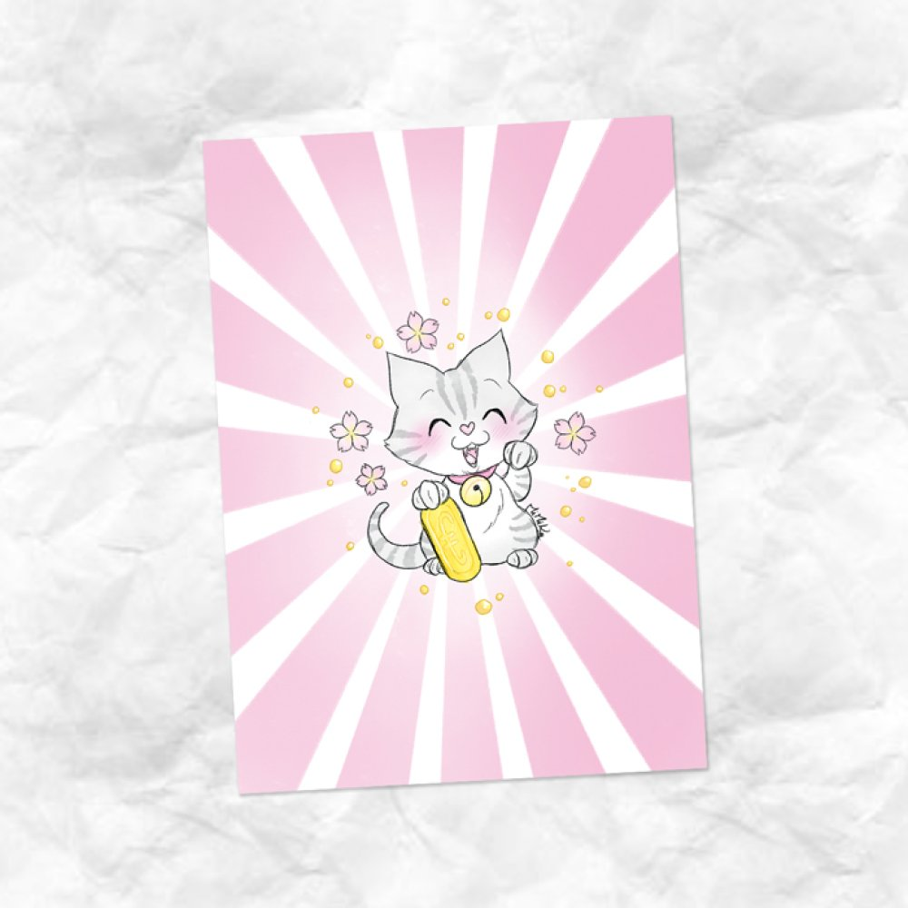 Carte dessin Maneki Neko chat Silvercat