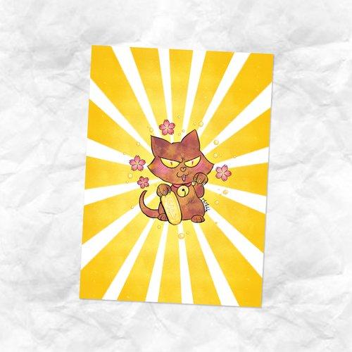 Carte dessin maneki neko chat hellcat