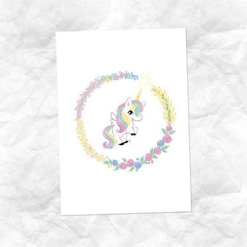 Carte dessin petite licorne