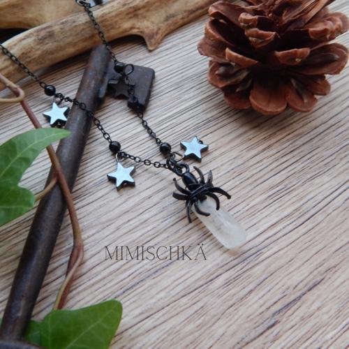 Collier gothique araignée et étoiles