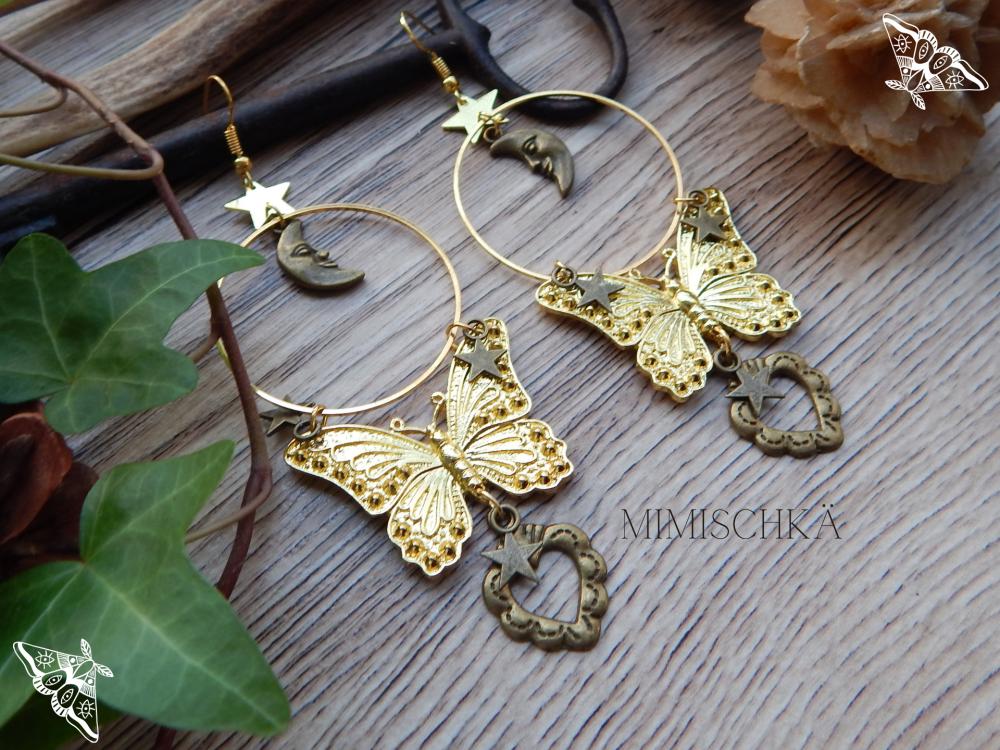 Boucles d'oreilles papillon doré  lune étoiles