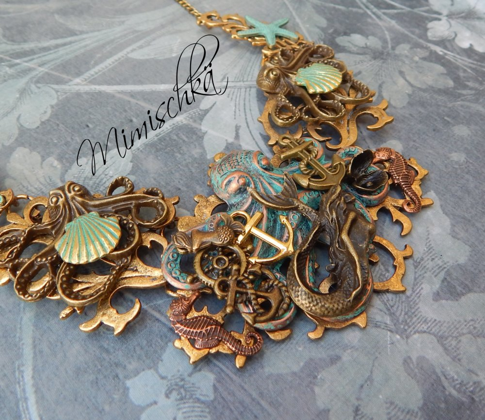 Collier 20000 lieues sous les mers octopus sirène pieuvre sirène étoiles de mer coquillages