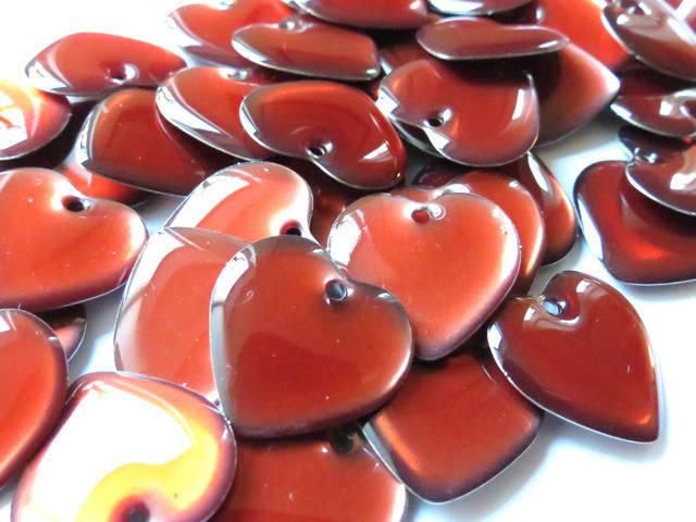 LOT de 10 Sequins argenté émaillés double face Coeur Rouge transparent 18 mm