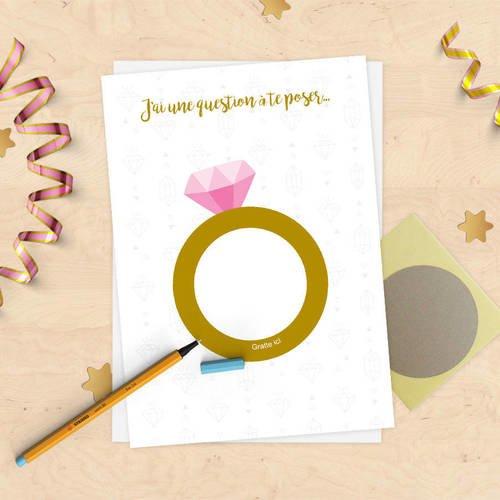 Carte à gratter personnalisée annonce fiançailles, mariage, pacs, demande de témoin !