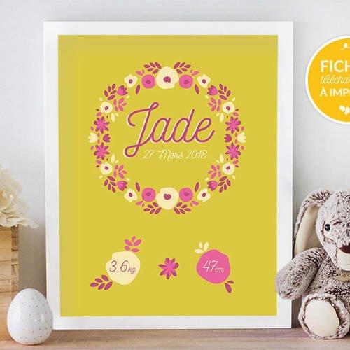 Affiche personnalisée chambre d'enfant, à imprimer soi-même - cadeau de naissance, affiche couronne de fleurs