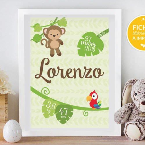 Affiche personnalisée chambre d'enfant, à imprimer soi-même - cadeau de naissance, affiche jungle