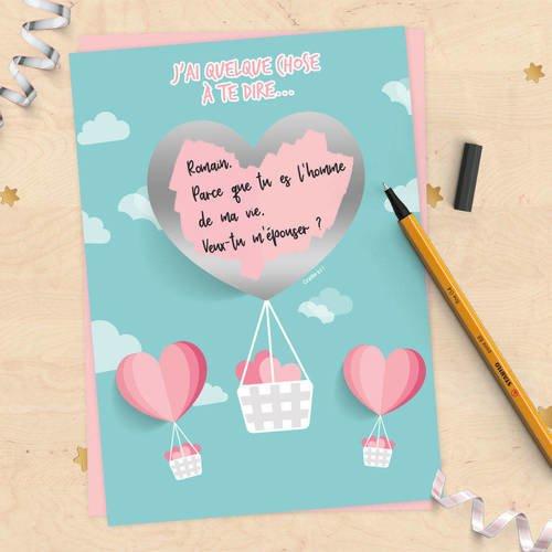 Carte à gratter à personnaliser pour demande en mariage, pacs, déclaration d'amour, fiançailles