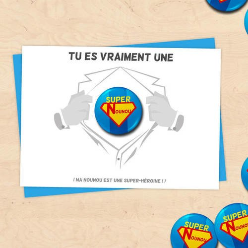 Carte badge super nounou, cadeau nounou, assistante maternelle