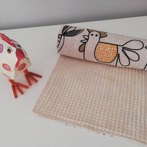 Essui tout en tissu lavable, poules stylisées , sopalin en tissu sopalin lavable