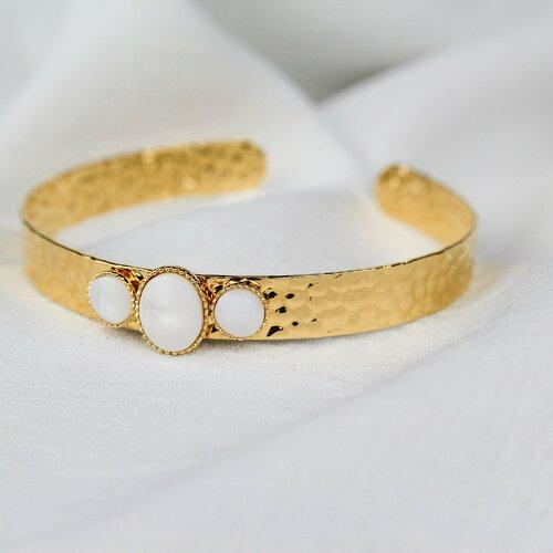 Bracelet jonc doré à l'or fin et nacre