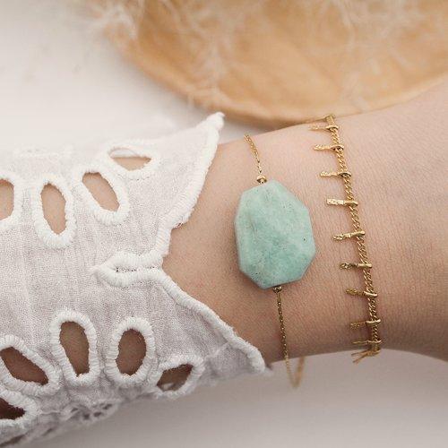 Bracelet fin minimaliste avec pierre naturelle semi précieuse, amazonite, chaine dorée en acier inoxydable