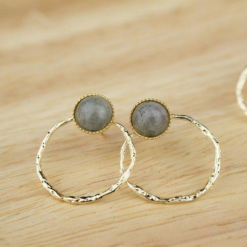 Boucles d'oreilles dorées et pierre de labradorite