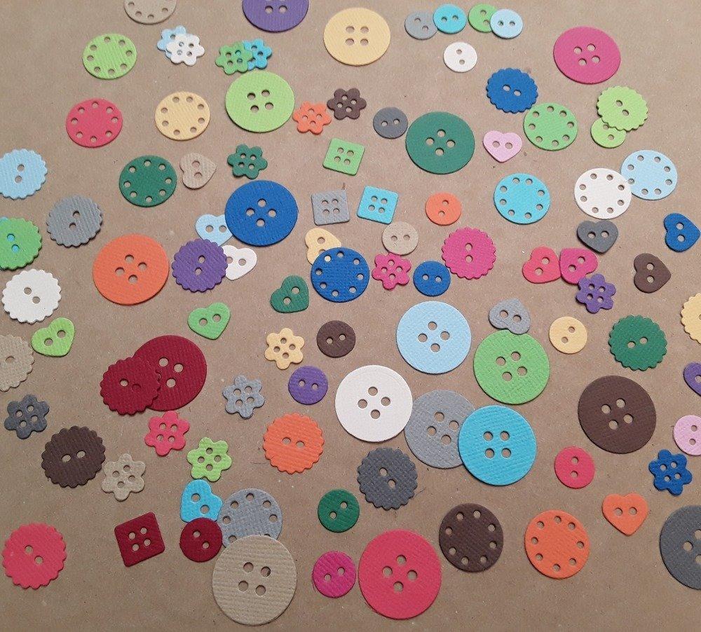 Découpes boutons en papier : lot de 100 boutons aléatoires, variés