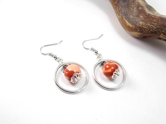 boucles d'oreilles perles marrons et oranges en pâte polymère