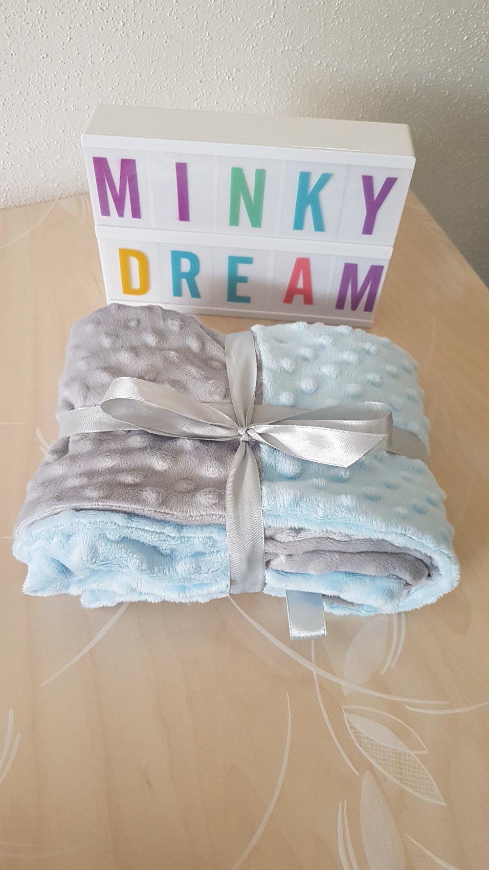 Couverture bébé minky bleu/gris
