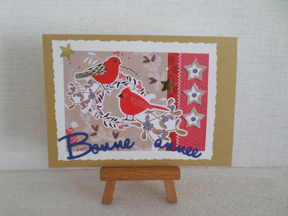 """carte""""bonne année""""13 avec oiseaux"""