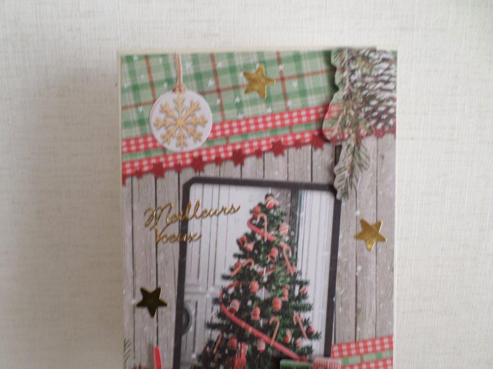 carte de voeux 3D avec sapin et cadeaux