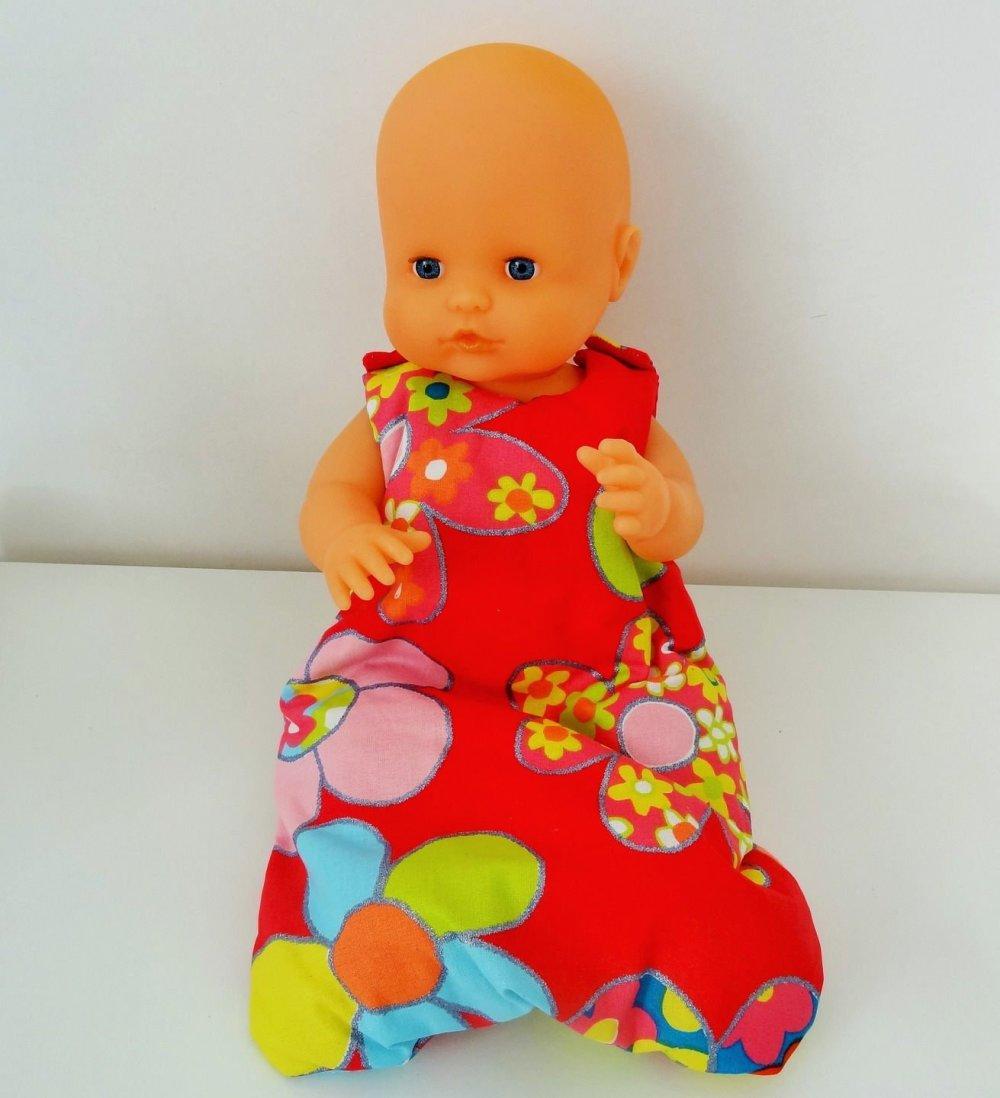 """Gigoteuse turbulette """"fleurs"""" pour poupées, poupon 36 40 cm max"""