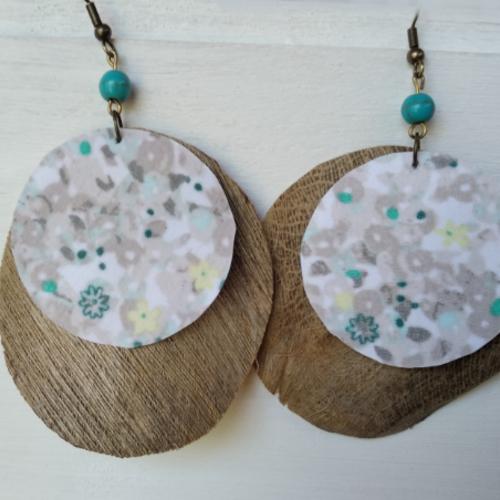 Boucles d'oreilles en fibre de coco et tissu recyclé
