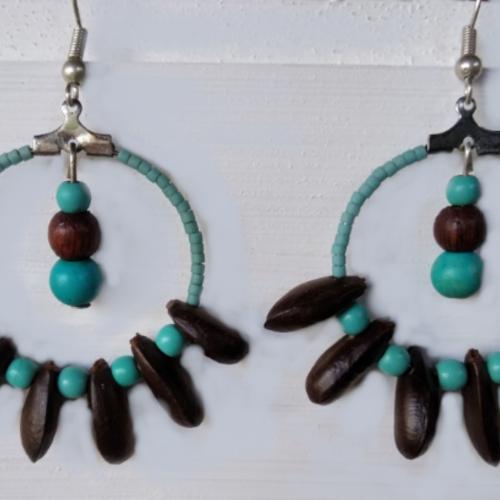 Boucles d'oreilles anneaux perles et graines de zattes