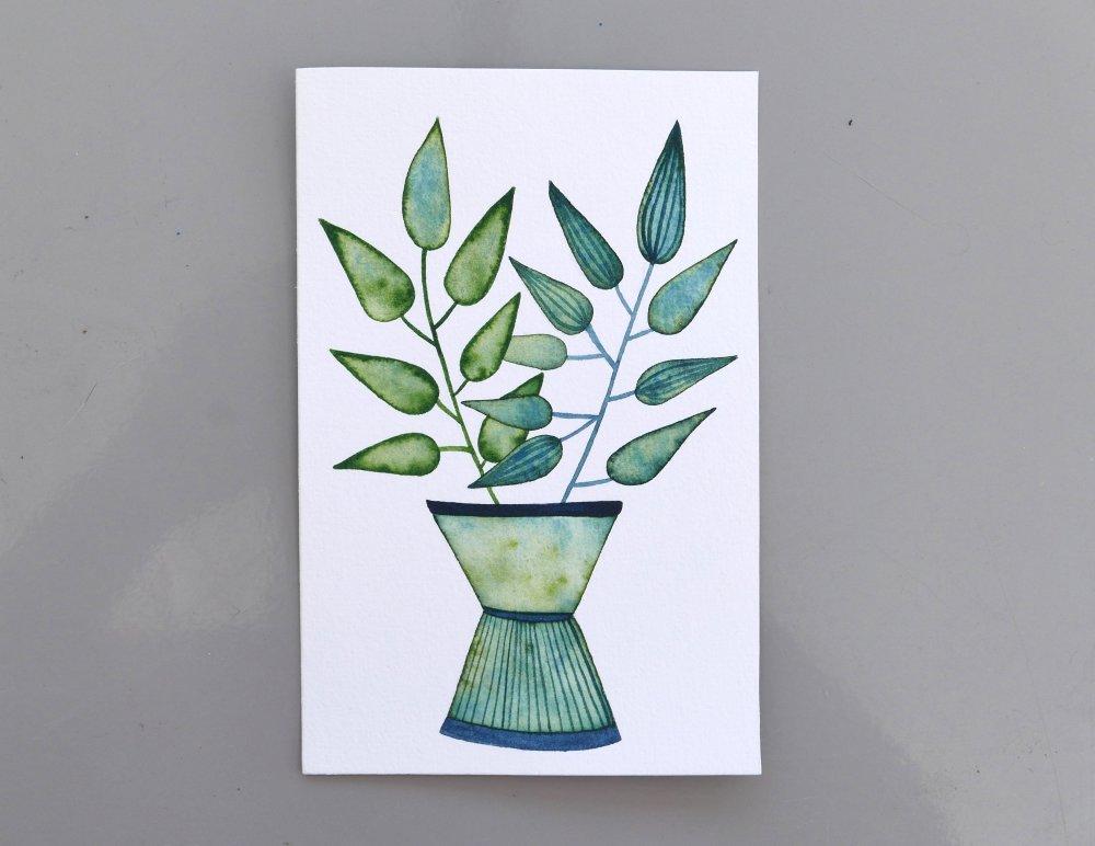 aquarelle originale 10x15 cm illustration bouquet de feuilles