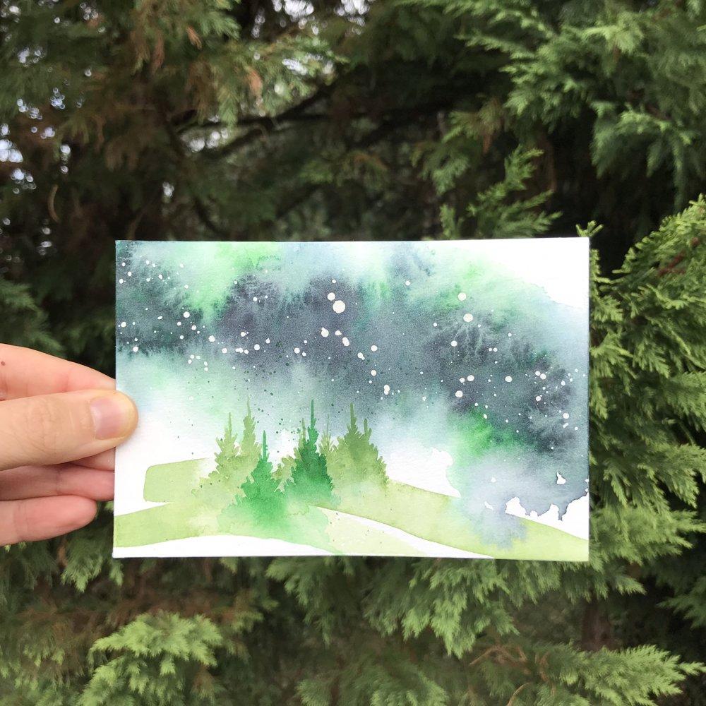 aquarelle originale 10x15 cm paysage de sapins