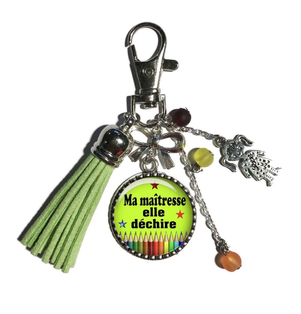 Porte clés maîtresse, bijou de sac maîtresse qui déchire, cadeau fin d'année scolaire