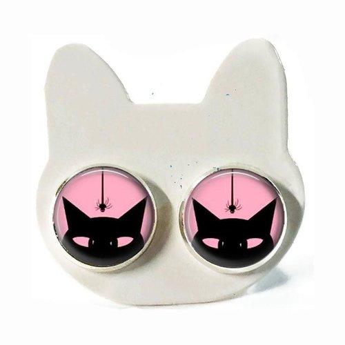 Boucle d'oreilles chat noir, boucle d'oreilles chat sur fond rose, cabochon verre