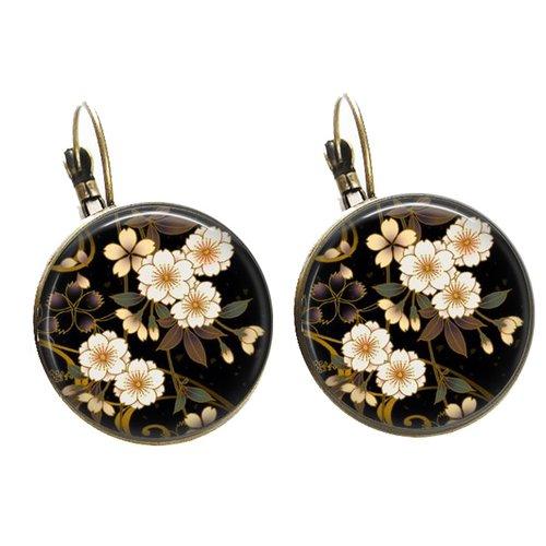 boucles oreilles bronze et turquoise  rameaux de cerisier en fleur Boucles d/'oreille branches fleuries
