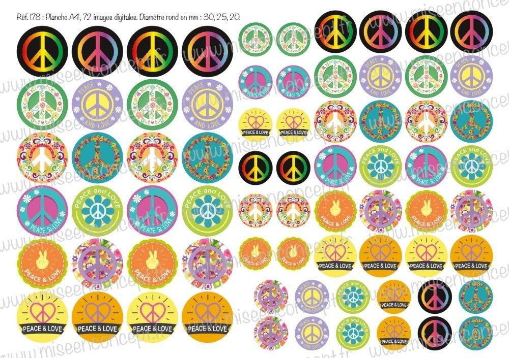 72 images digitales - Paix / Peace in love - Rond - images cabochons - symbole - amour - bijoux - planche numérique