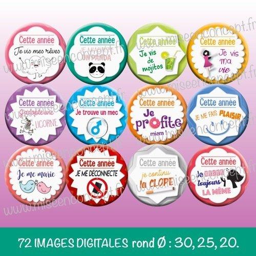 72 images digitales porte-cl\u00e9s images rondes bijoux Je suis une fille unique magnet Rond images cabochons
