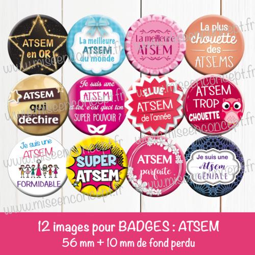 12 images digitales pour badges - 56 + 10 mm - atsem