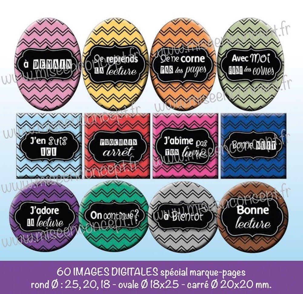 60 images digitales - marque-pages - Rond - images cabochons - Bijoux