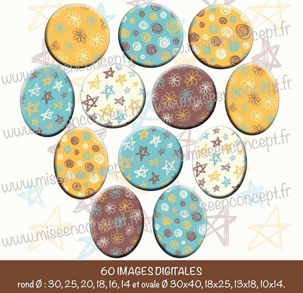 60 images digitales - Motifs jaunes&verts&marrons- Rond & ovale - images cabochons - étoile - pois - fleurs - bijoux