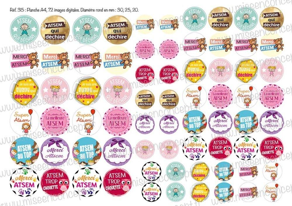 72 images digitales - Atsem - Rond - images cabochons - école - scolaire - maîtresse - maître - Bijoux - porte-clés - magnet - badge - scrapbooking - images rondes