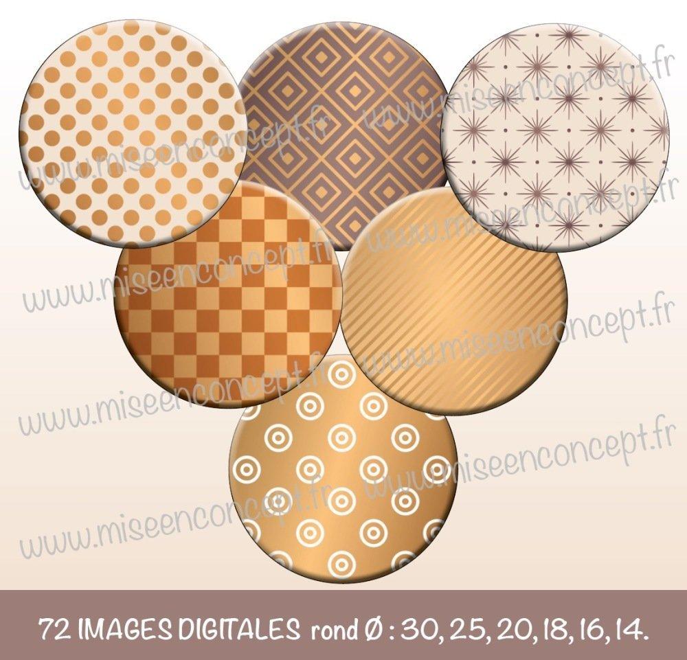72 images digitales - Motifs luxes - Rond - images cabochons - petit pois - rayure - rétro - vintage - pattern - boho - bijoux - scrapbooking - images rondes à imprimer