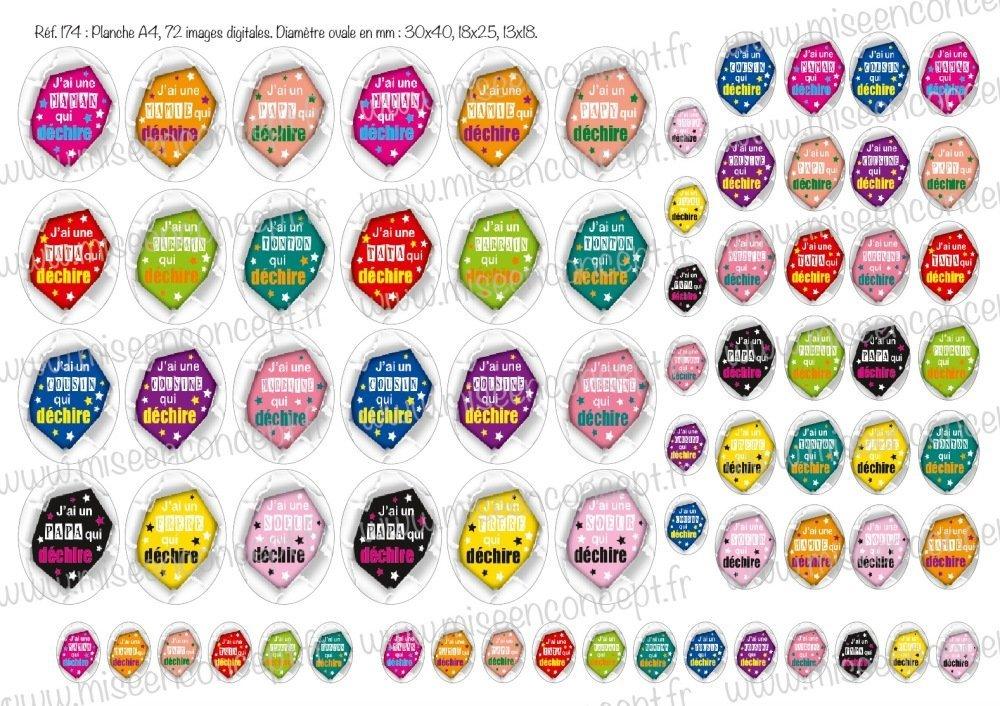 72 images digitales - une famille qui déchire  - ovale - images cabochons - papa - maman - parrain - marraine - papy - mamie - bijoux - scrapbooking - porte-clés - badge - magnet - planche d'images digitales - images ovales