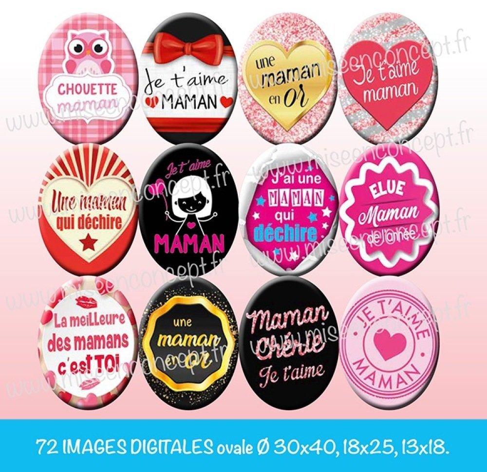 72 images digitales - Maman - ovale - images cabochons - fête des mères - fête de mamans - je t'aime - bijoux - scrapbooking - planche d'images à imprimer - images ovales