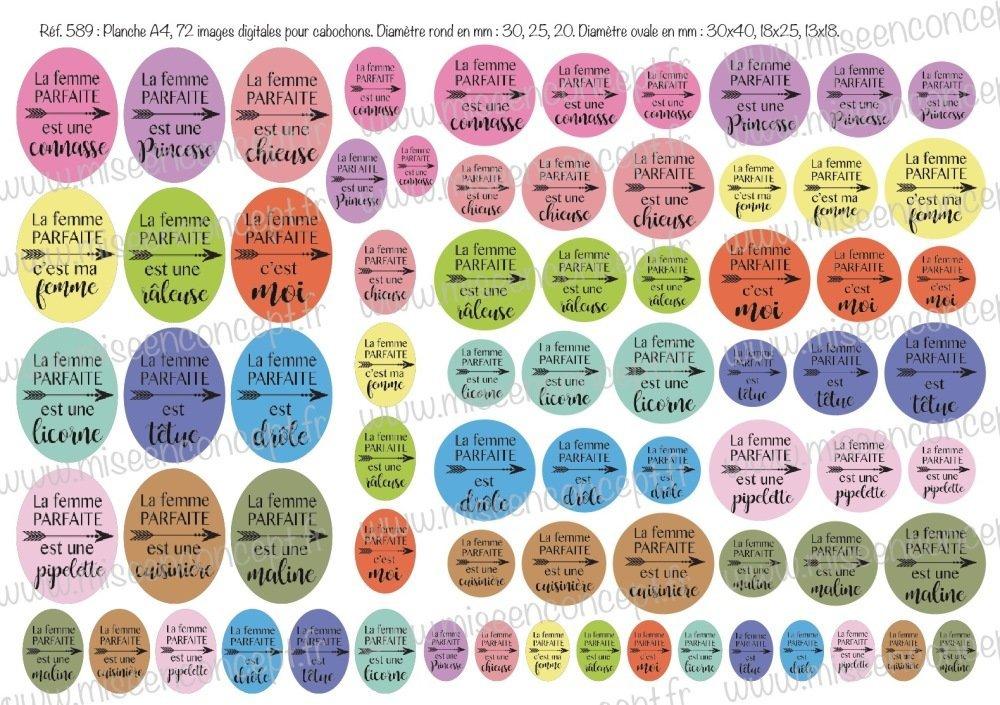 72 images digitales - La femme parfaite - Rond & ovale - images cabochons - caractère - princesse - licorne - connasse - chieuse - cuisinière - drôle - bijoux - Badge - Magnet