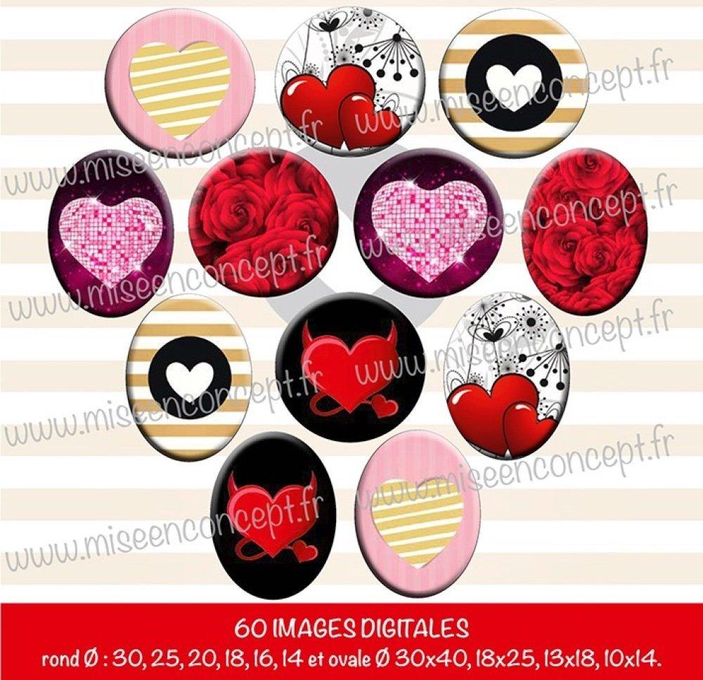 60 images digitales - Motifs St valentin - Rond & ovale - images cabochons - Je t'aime - love - coeurs - amoureux - chéri/chérie - st valentin - bijoux