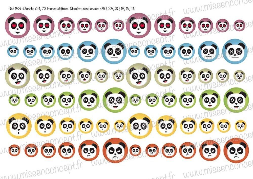 72 images digitales - panda - Rond - images cabochons - animaux - bijoux