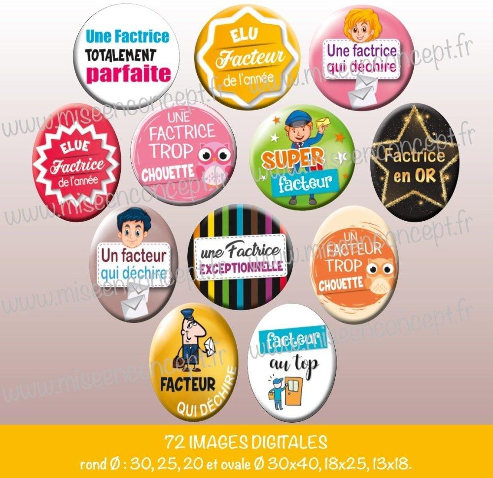 72 images digitales - facteur/factrice - Rond & ovale - images cabochons - courrier - colis - la poste - métier - bijoux - Badge - Magnet