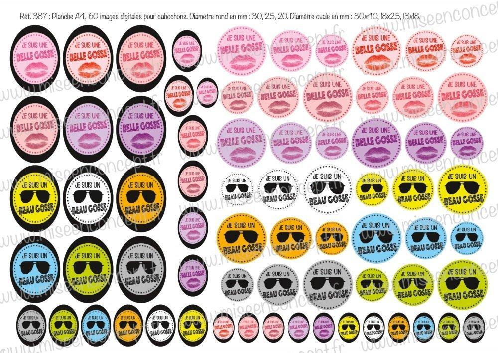 72 images digitales - Je suis un beau gosse/une belle gosse - Rond & ovale - images cabochons - lunette - bijoux - Magnet