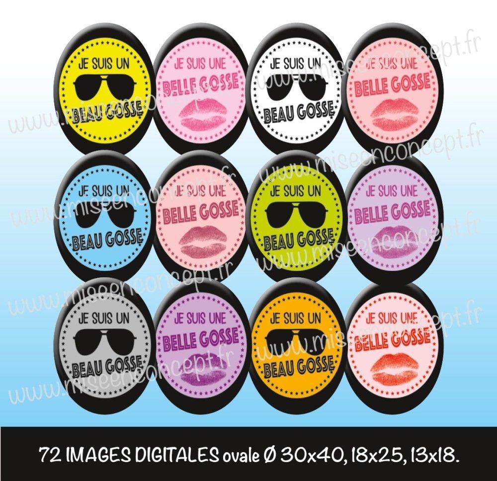 72 images digitales - Je suis un beau gosse/une belle gosse - ovale - images cabochons - lunette - bijoux - Magnet