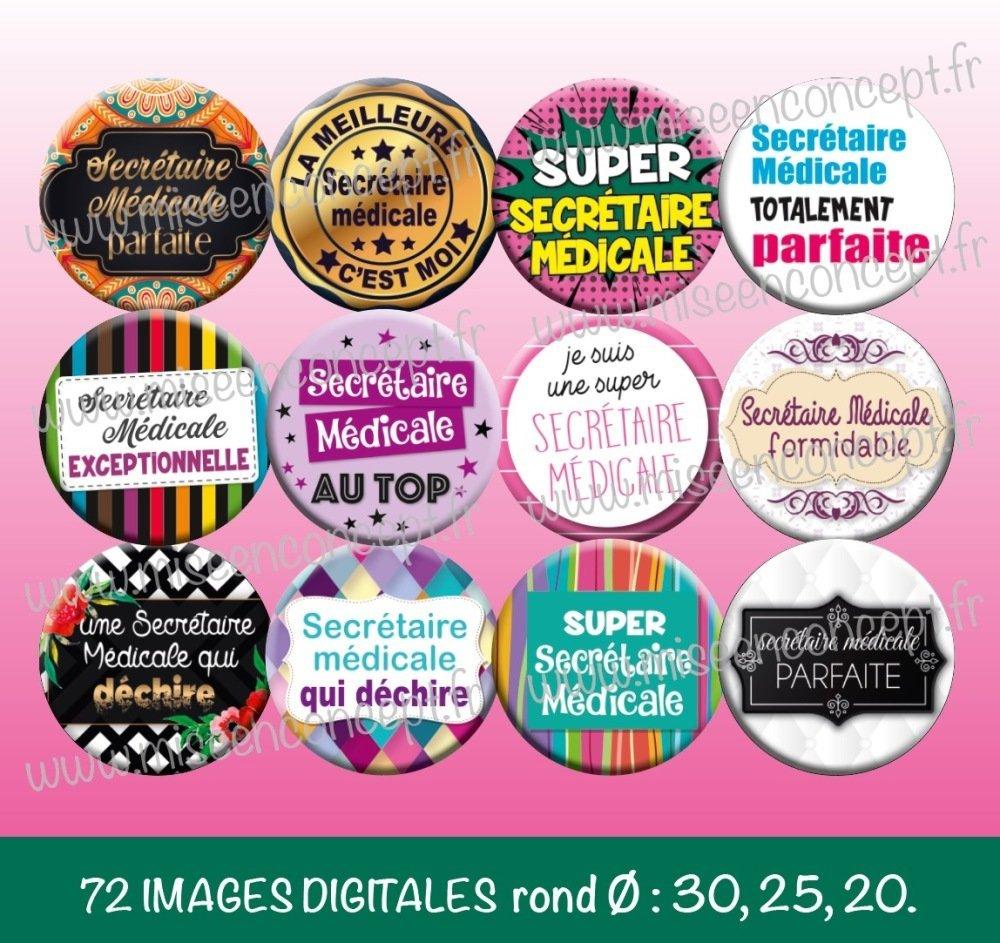 72 images digitales - Secrétaire Médicale - Rond - images cabochons - métier - infirmière - médical - bijoux - Badge